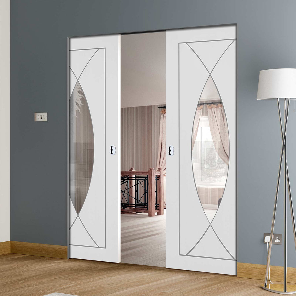 Pesaro Flush Absolute Evokit Double Pocket Door - Clear Glass - Primed