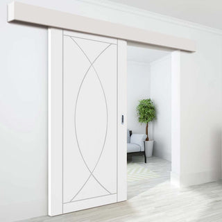 Image: Thruslide Surface Pesaro Flush - Sliding Door and Track Kit - White Primed
