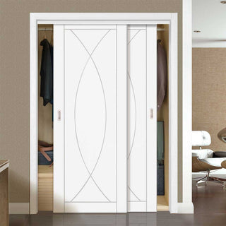 Image: Thruslide Pesaro Flush 2 Door Wardrobe and Frame Kit - White Primed