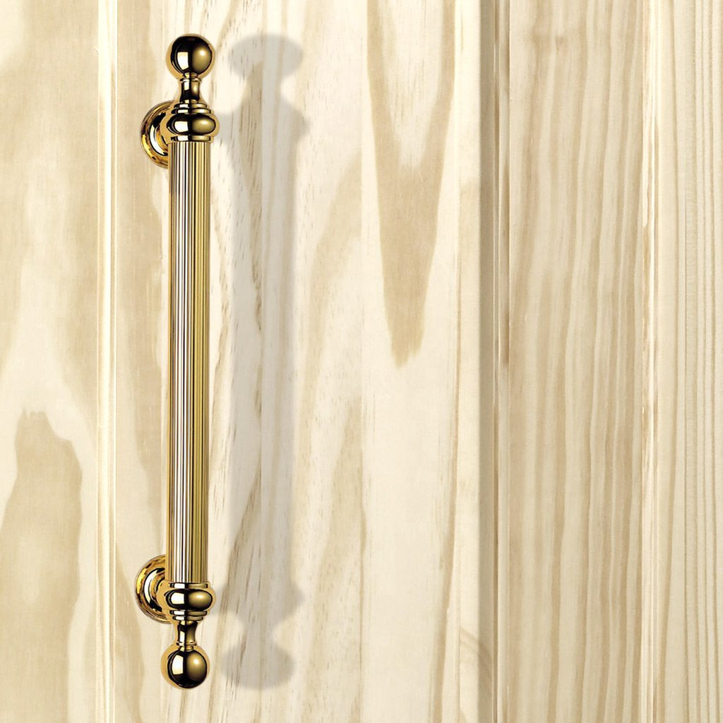 PF108 Reeded Grip Pull Handle, Ornate on Round Rose, 500mm