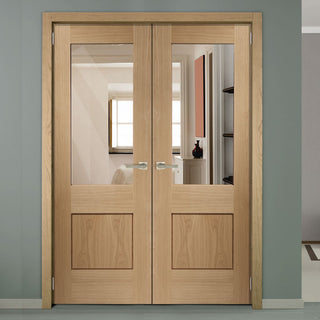 Image: Piacenza Oak 1 Pane Flush Door Pair - Deep Groove Design - Clear Glass