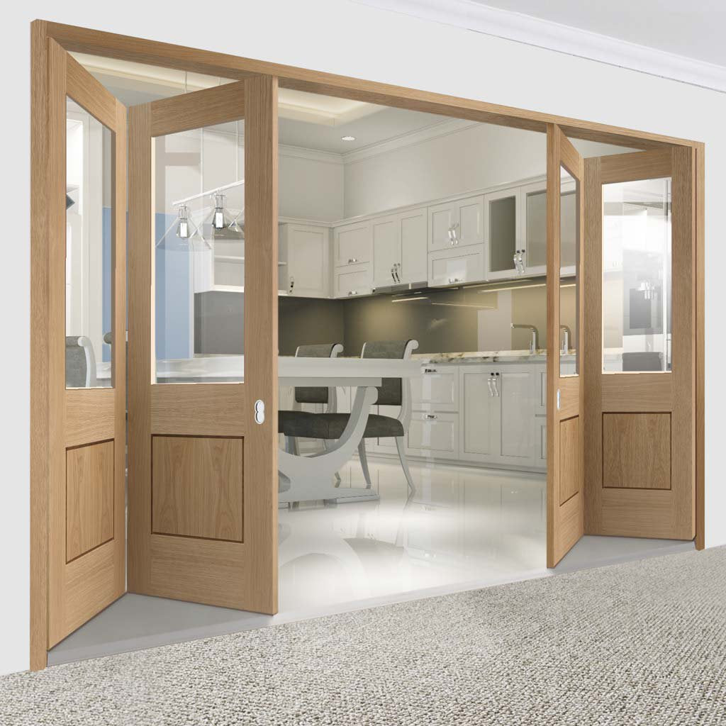 Bespoke Thrufold Piacenza Oak 1 Panel Glazed Folding 2+2 Door - Groove Design