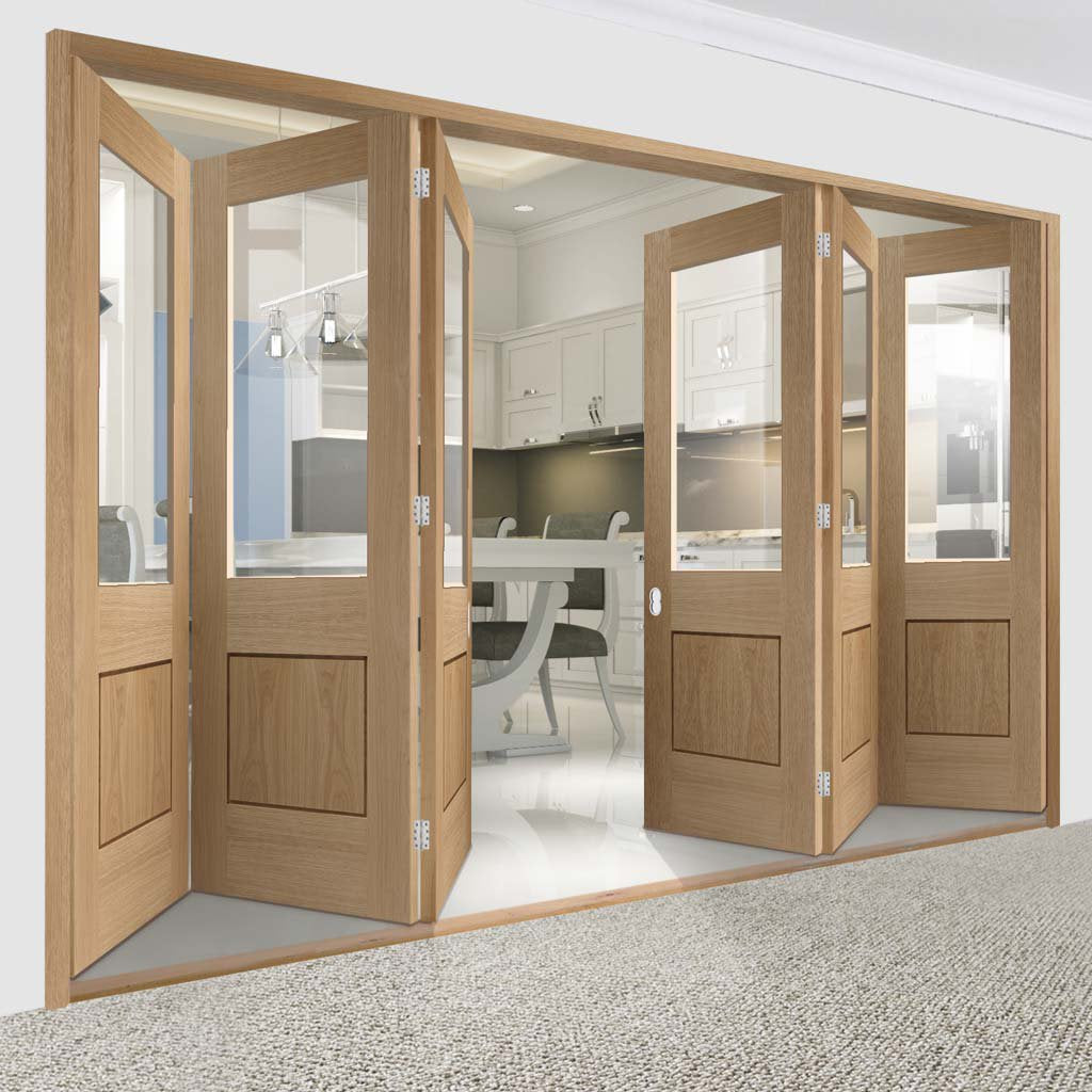 Bespoke Thrufold Piacenza Oak 1 Panel Glazed Folding 3+3 Door - Groove Design