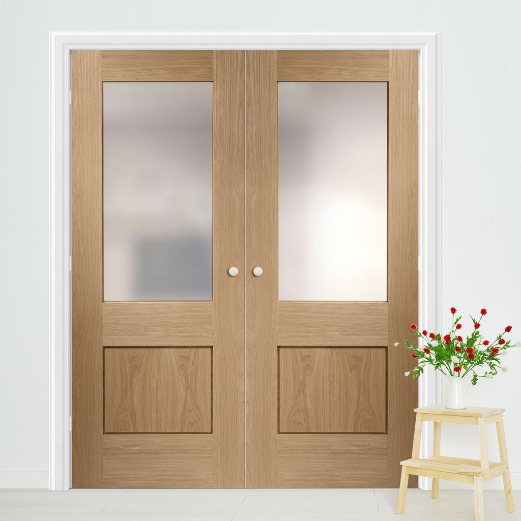 Bespoke Piacenza Oak 1P Glazed Door Pair - Groove Design