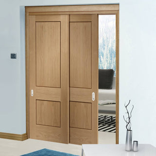 Image: Thruslide Piacenza Oak 2 Panel Flush - 2 Sliding Doors and Frame Kit - Groove Design