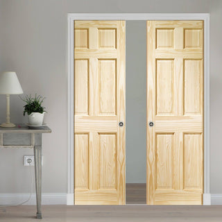 Image: 6P Pine Double Evokit Pocket Doors