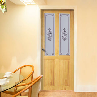 Image: Victorian 2 Panel & 2 Pane Clear Pine Door with Campion Clear Etched Design Safety Glass