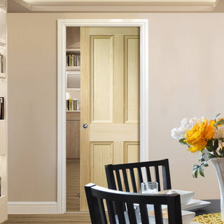 Image: Edwardian 4 Panel VG Pine Solid Single Evokit Pocket Door