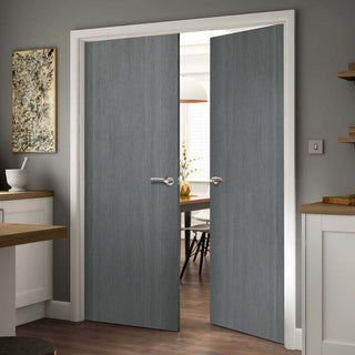 Image: Pintado Slate Grey Flush Door Pair, Pre-finished