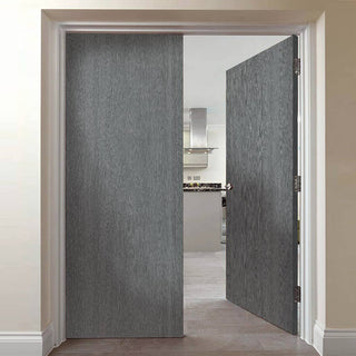 Image: J B Kind Pintado Slate Grey Flush Door Pair - 1/2 Hour Fire Rated - Prefinished