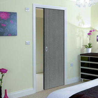 Image: Pintado Slate Grey Flush Evokit Pocket Fire Door - 30 Minute Fire Rated - Prefinished