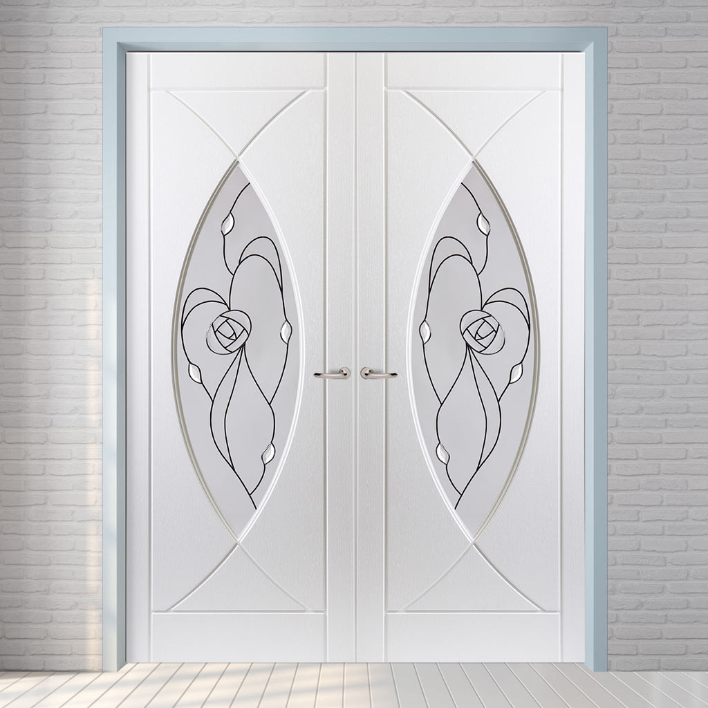 Pisces Lightly Grained PVC Door Pair - Rose Style Sandblasted Glass