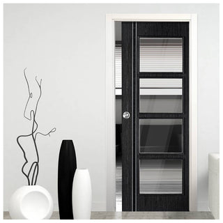 Image: Ash Grey Zanzibar Single Evokit Pocket Door - Clear Glass - Prefinished