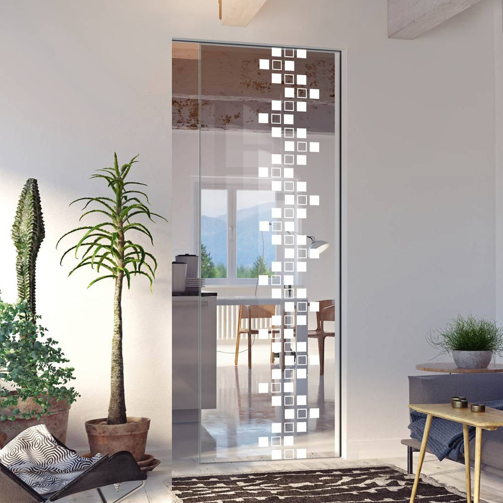 Carrington 8mm Clear Glass - Obscure Printed Design - Single Absolute Pocket Door