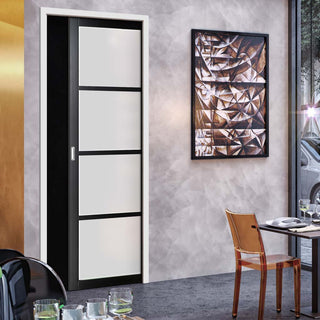 Image: Bespoke Single Pocket Door WK6308 - Frosted Glass - 2 Prefinished Colour Choices