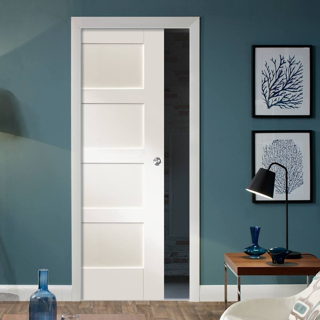 Shaker 4 Panel Single Evokit Pocket Door - Primed