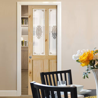 Image: Victorian Clear Pine Single Evokit Pocket Door - Campion Clear Etched Glass