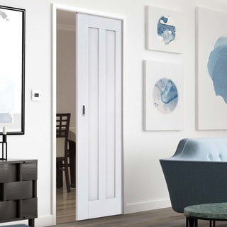 Image: Idaho Panel Single Evokit Pocket Door - White Primed