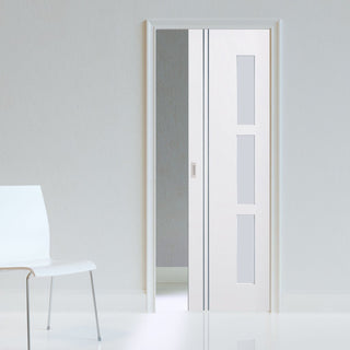 Image: Sierra Blanco Single Evokit Pocket Door - Frosted Glass - White Painted