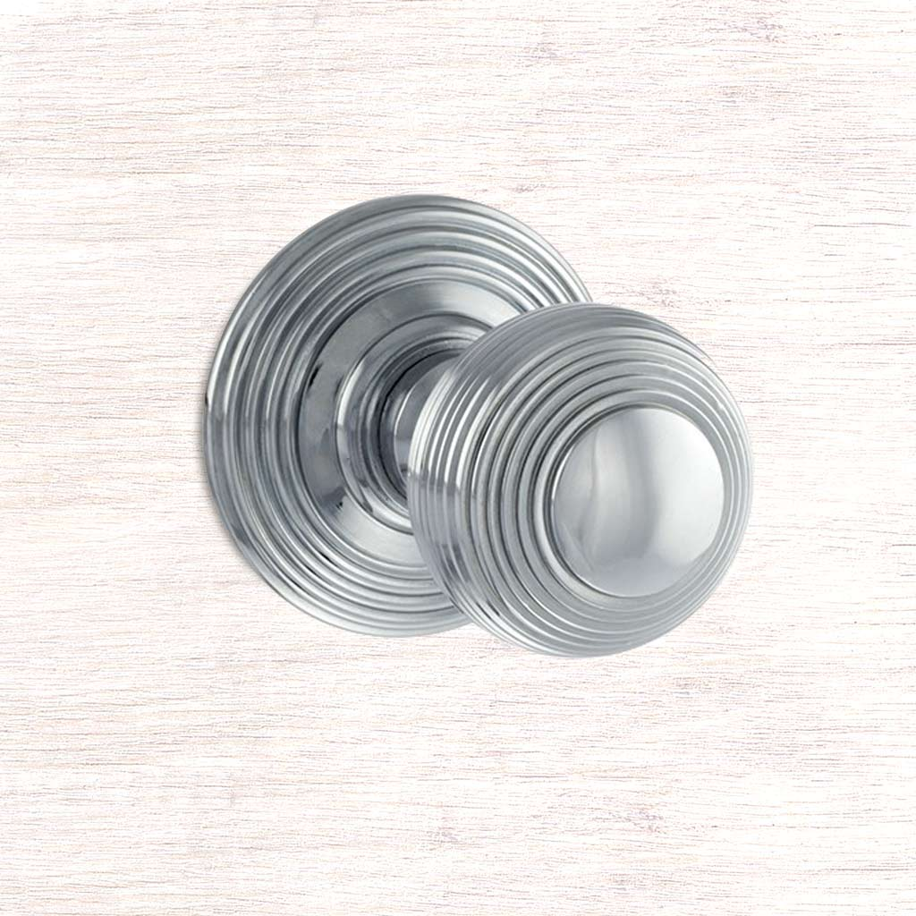 Ripon Reeded Old English Mortice Knob - Polished Chrome
