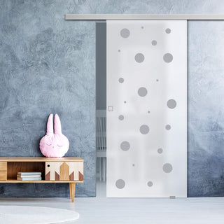 Image: Single Glass Sliding Door - Polka Dot 8mm Obscure Glass - Obscure Printed Design with Premium Track