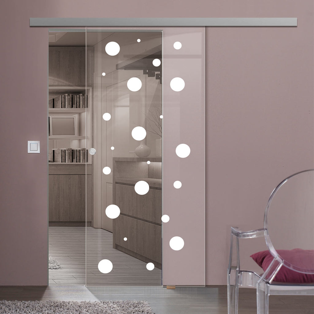 Single Glass Sliding Door - Polka Dot 8mm Clear Glass - Obscure Printed Design with Premium Track