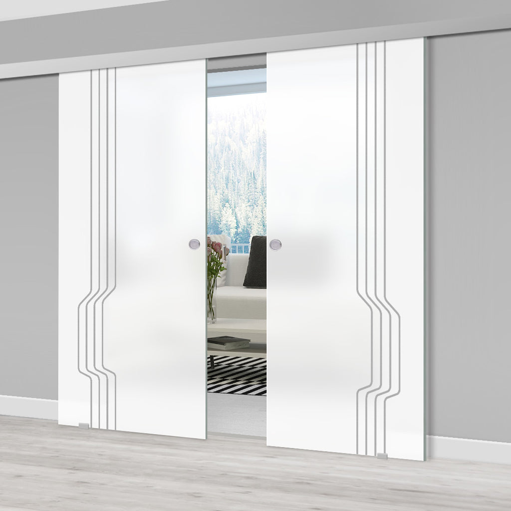 Double Glass Sliding Door - Polwarth 8mm Obscure Glass - Obscure Printed Design - Planeo 60 Pro Kit