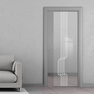Image: Polwarth 8mm Clear Glass - Obscure Printed Design - Single Evokit Glass Pocket Door