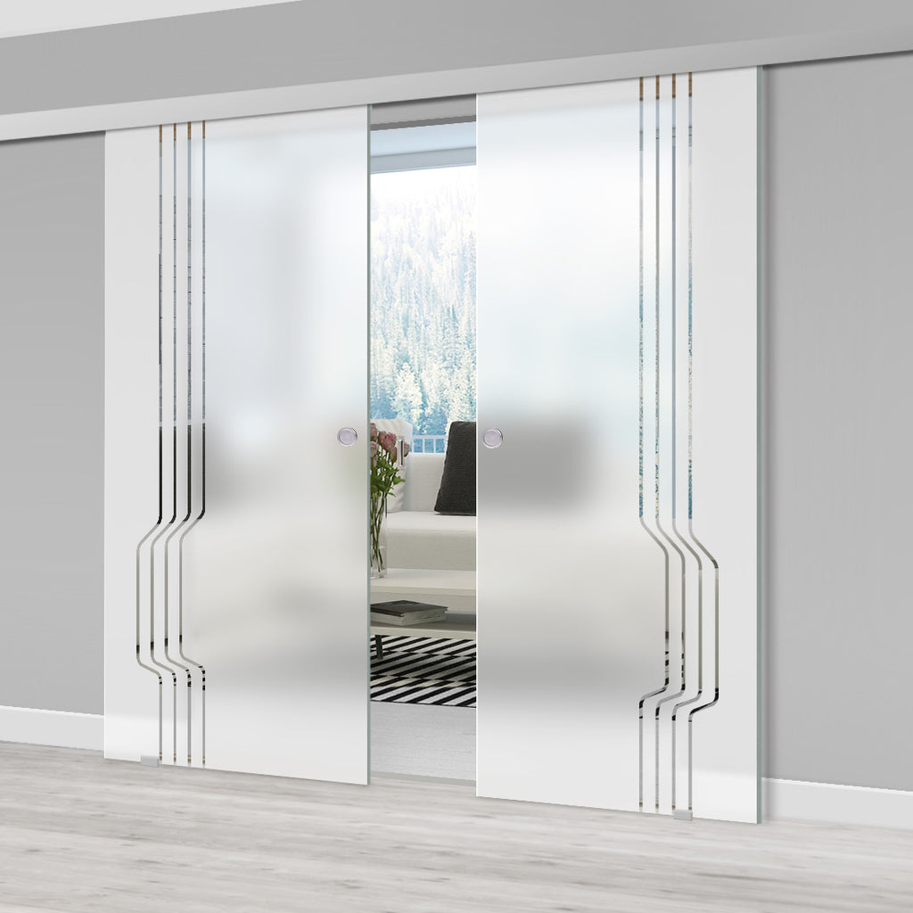 Double Glass Sliding Door - Polwarth 8mm Obscure Glass - Clear Printed Design - Planeo 60 Pro Kit