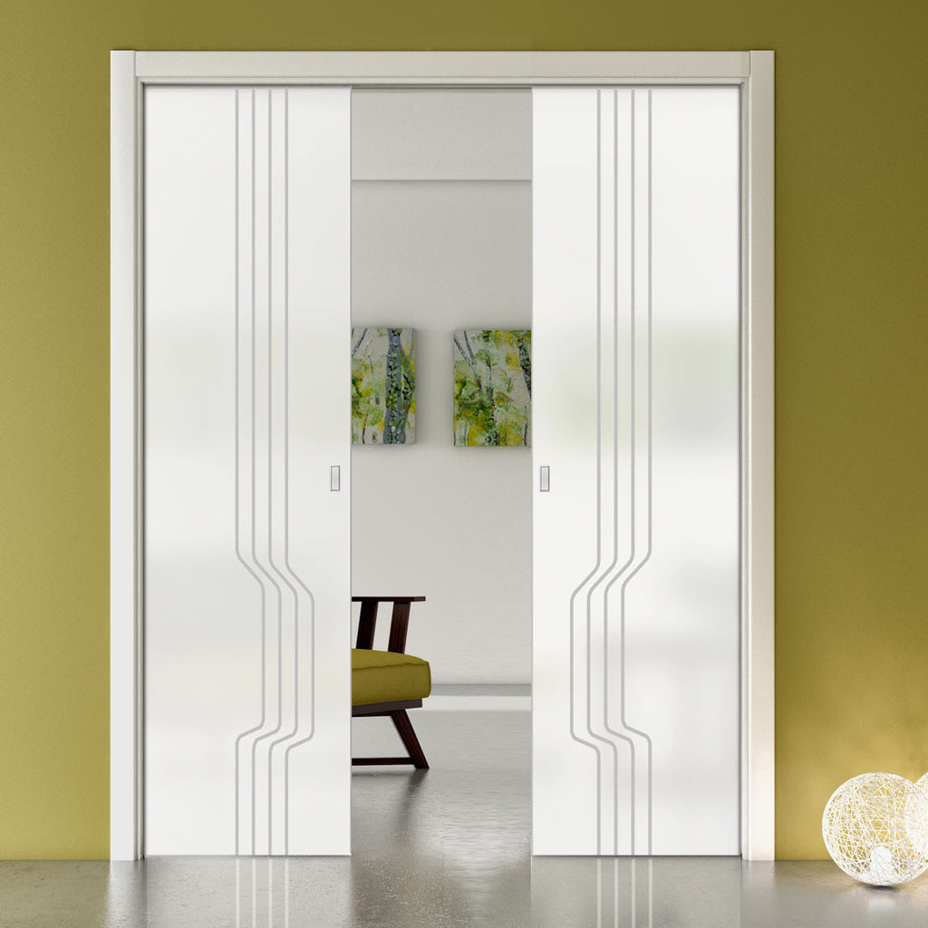 Polwarth 8mm Obscure Glass - Obscure Printed Design - Double Evokit Pocket Door