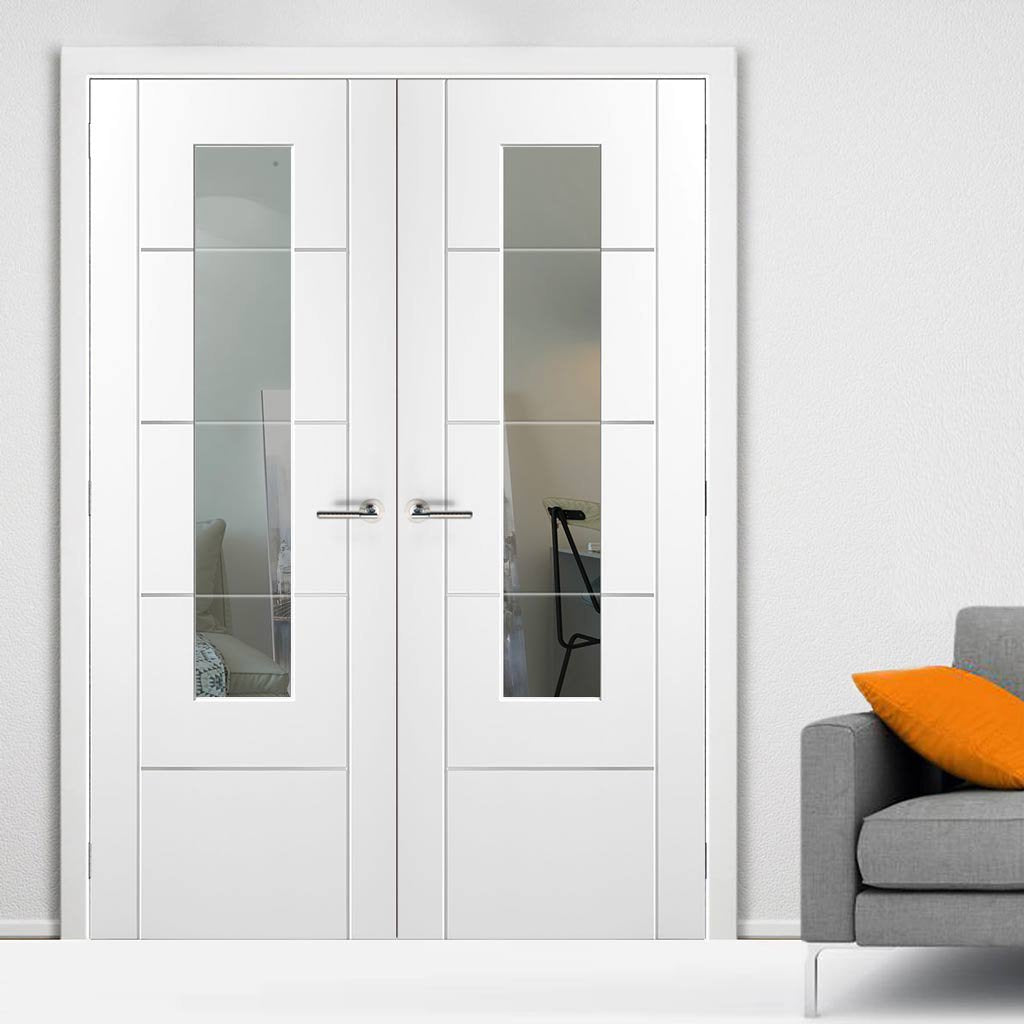 Portici White Door Pair - Clear Etched Glass - Aluminium Inlay - Prefinished