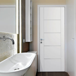 Image: Portici White Flush Door - Aluminium Inlay - Prefinished - From Xl Joinery