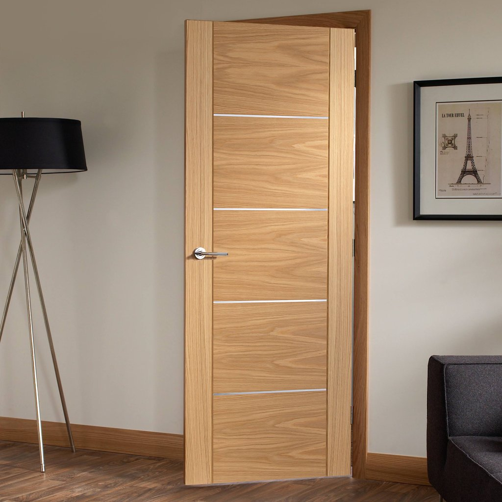 Door and Frame Kit - Portici Oak Flush Door - Aluminium Inlay - Prefinished