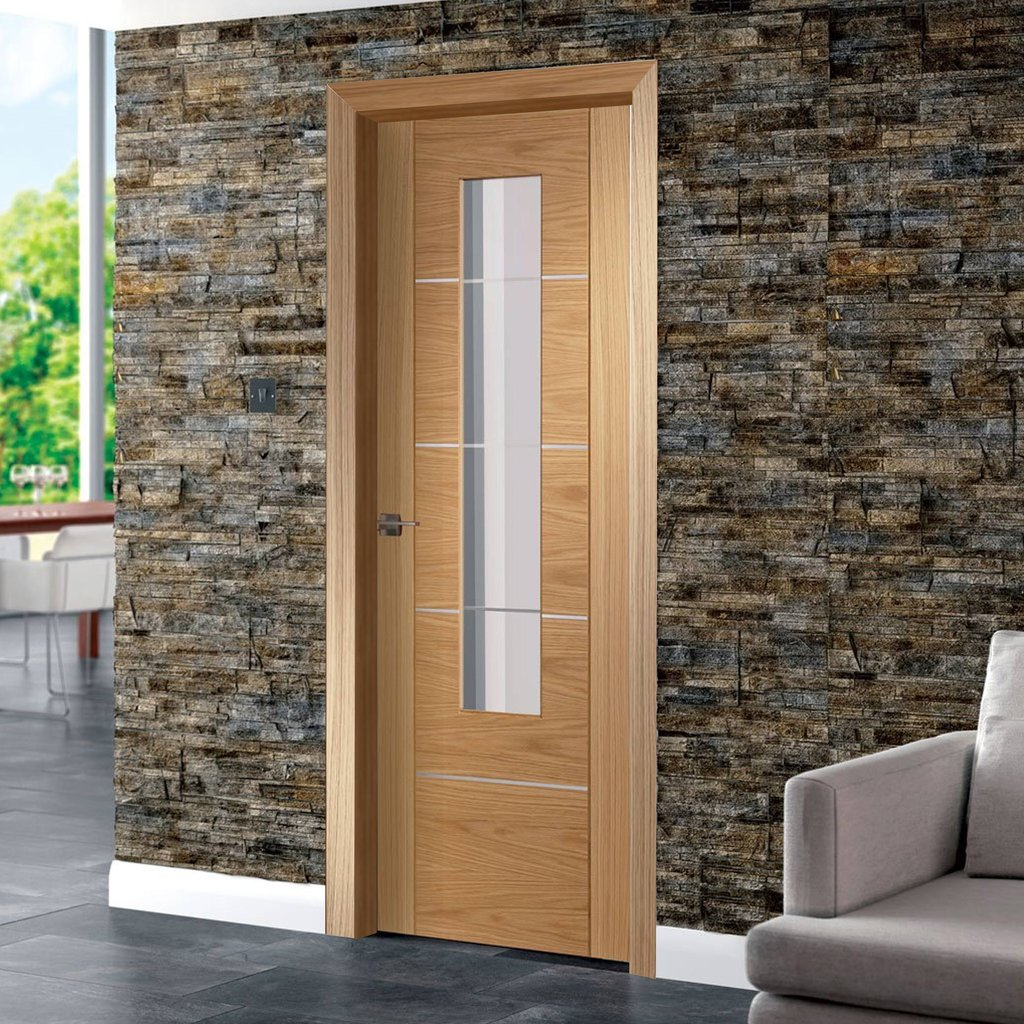 Door and Frame Kit - Portici Oak Flush Door - Aluminium Inlay - Clear Glass - Prefinished