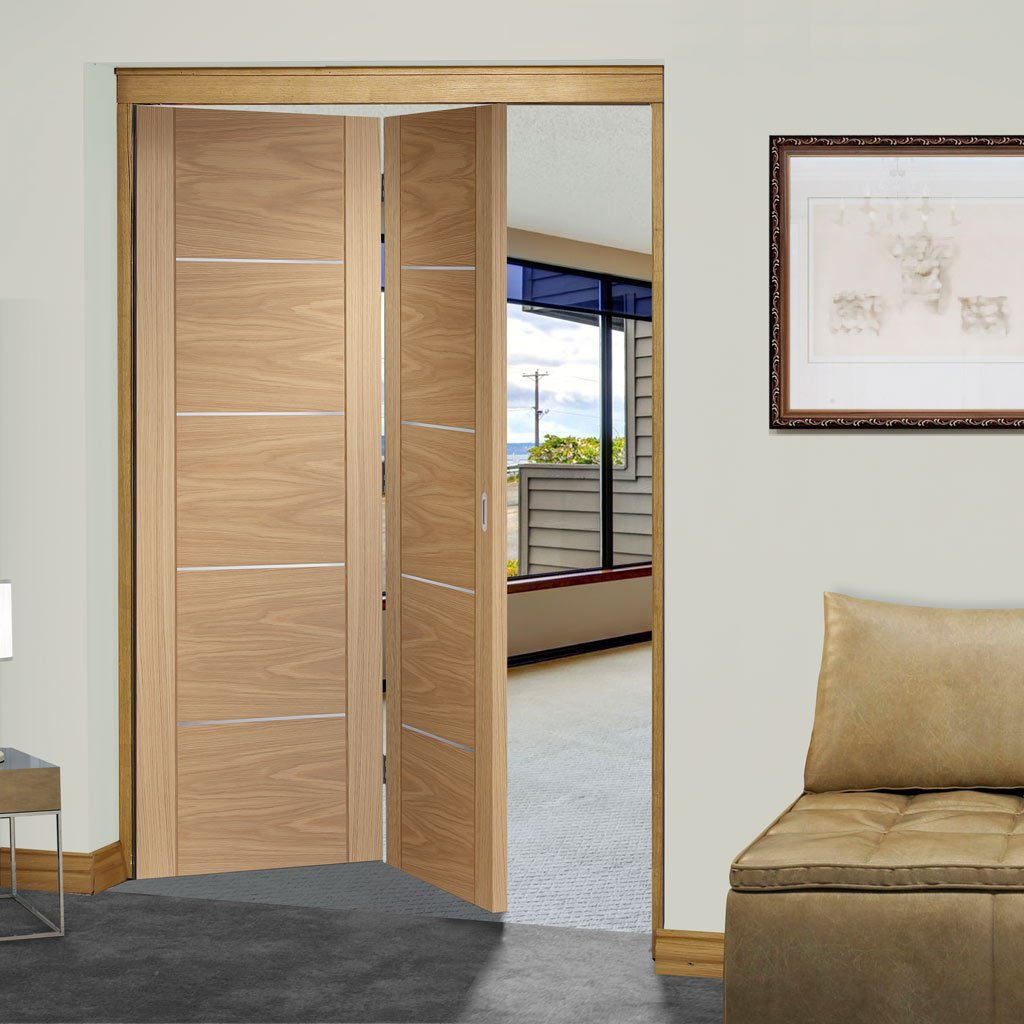 Bespoke Thrufold Portici Oak Flush Folding 2+0 Door - Aluminium Inlay - Prefinished