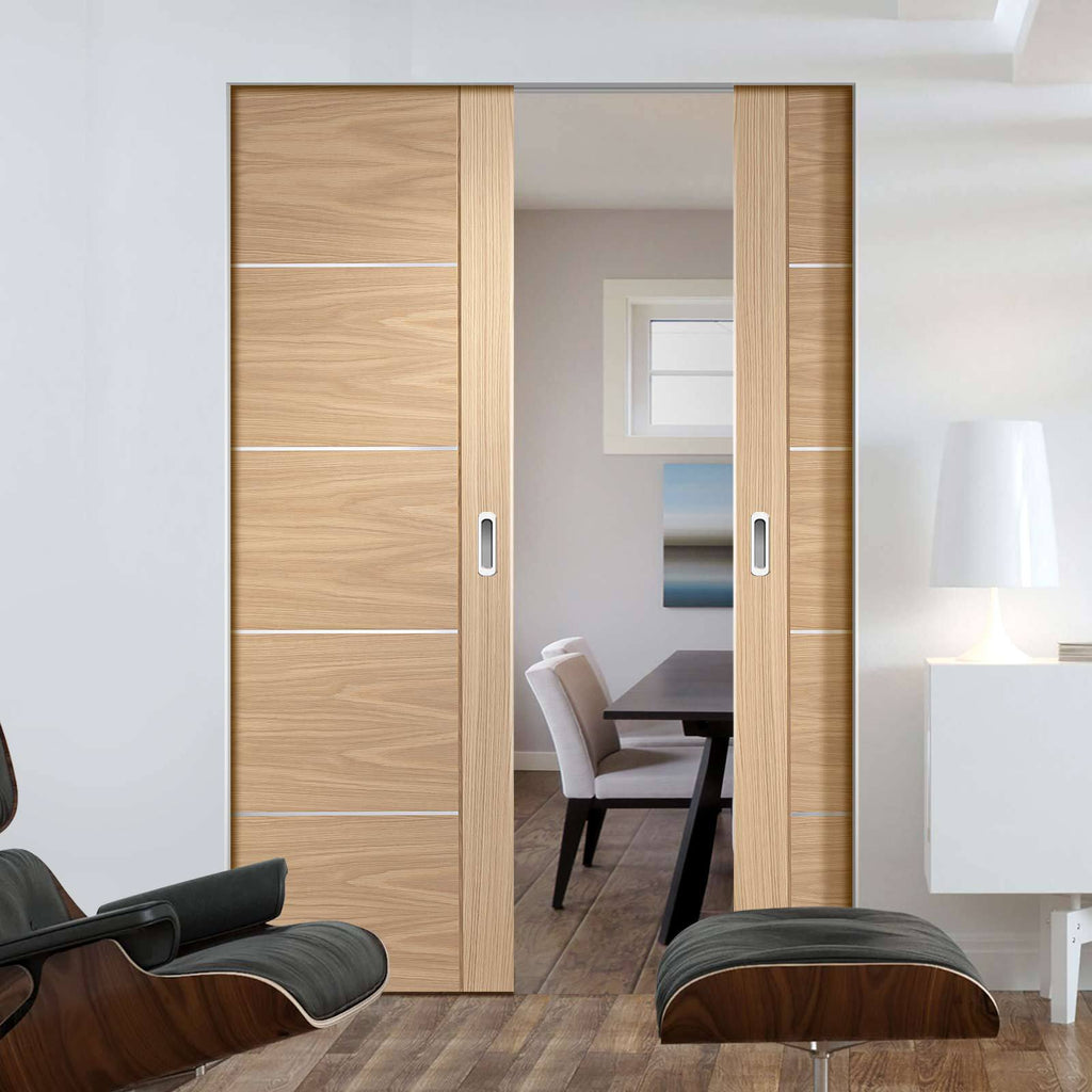 Bespoke Portici Oak Flush Double Frameless Pocket Door - Aluminium Inlay - Prefinished