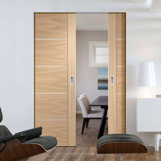 Image: Bespoke Portici Oak Flush Double Frameless Pocket Door - Aluminium Inlay - Prefinished