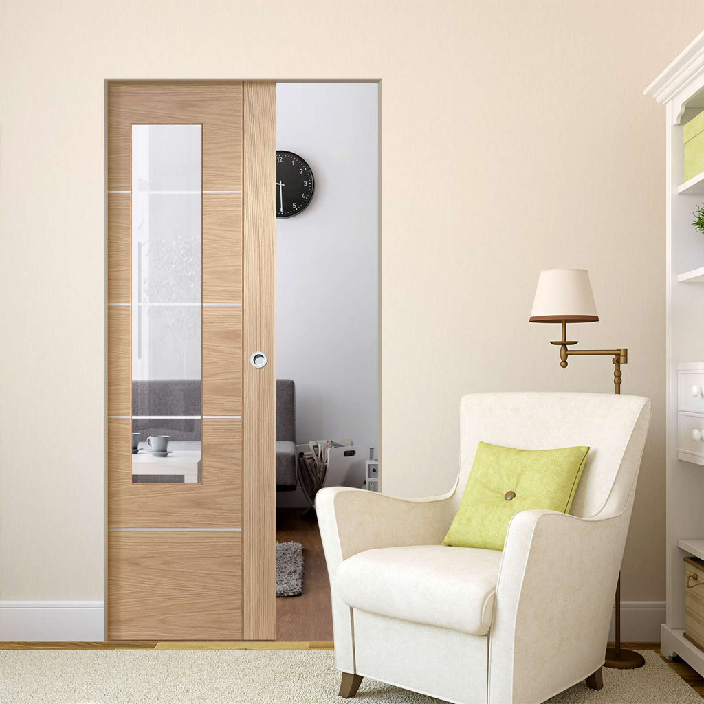 Portici Oak Flush Absolute Evokit Pocket Door - Aluminium Inlay & Clear Glass - Prefinished