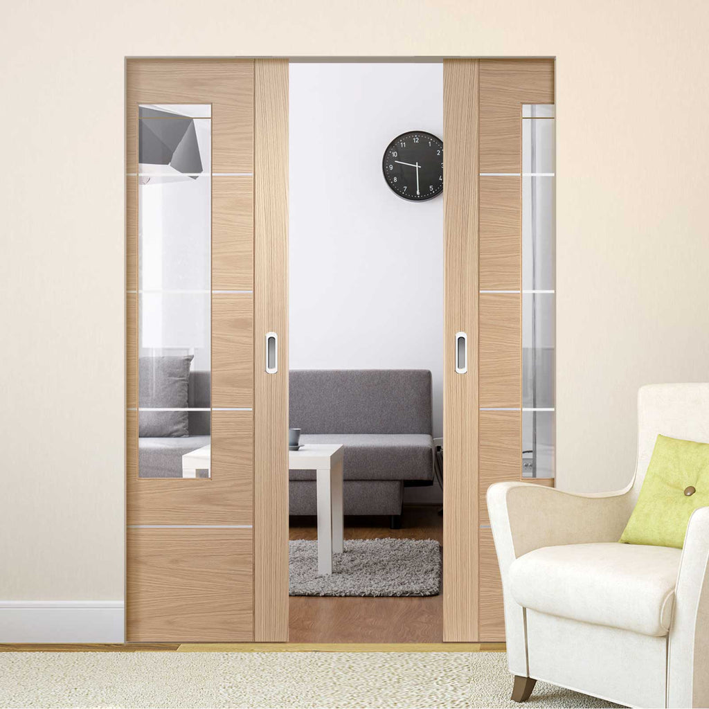 Portici Oak Flush Absolute Evokit Double Pocket Door - Aluminium Inlay & Clear Glass - Prefinished