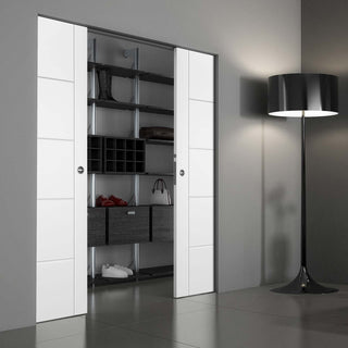 Image: Portici White Flush Absolute Evokit Double Pocket Door - Aluminium Inlay - Prefinished