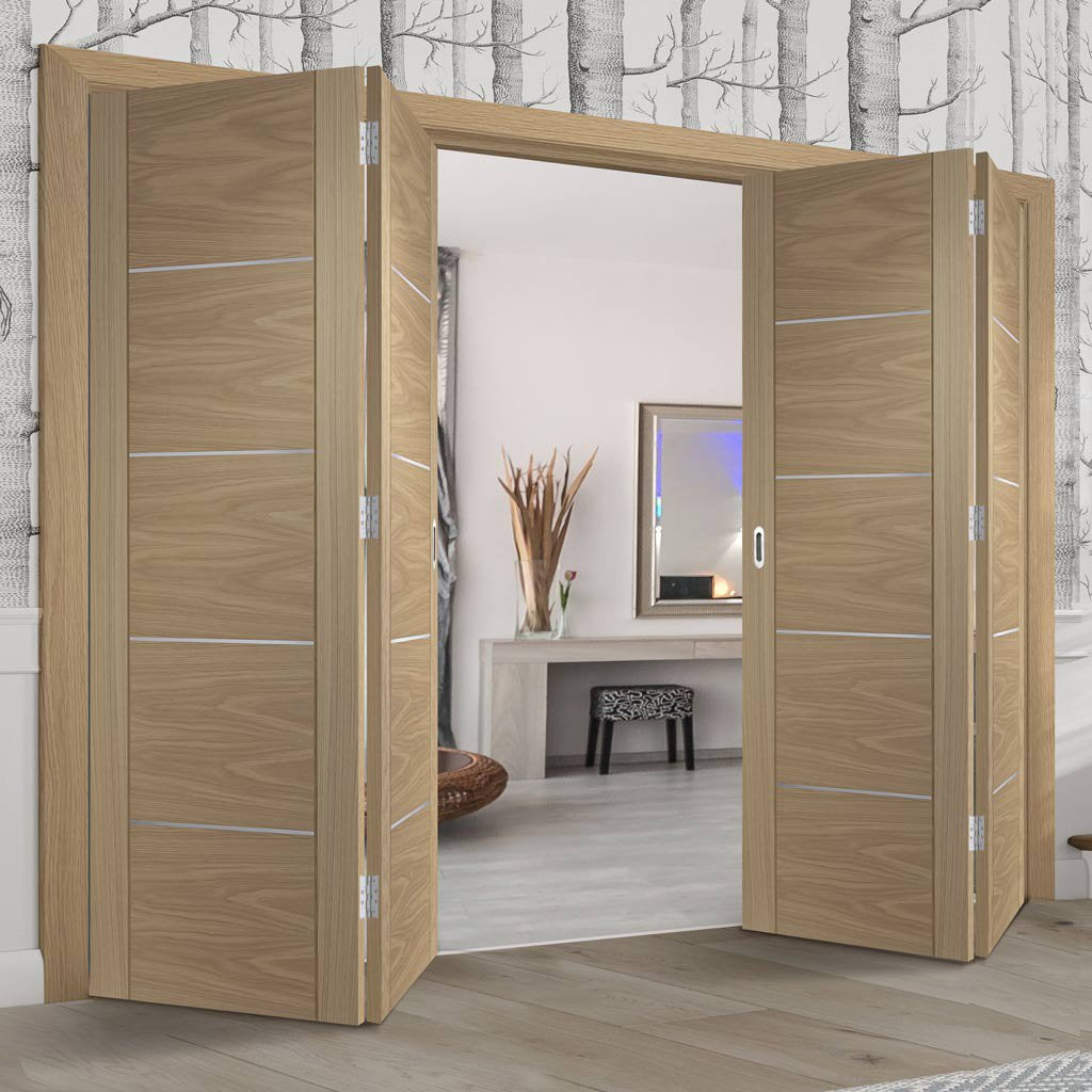 Four Folding Doors & Frame Kit - Portici Oak Flush 2+2 - Aluminium Inlay - Prefinished