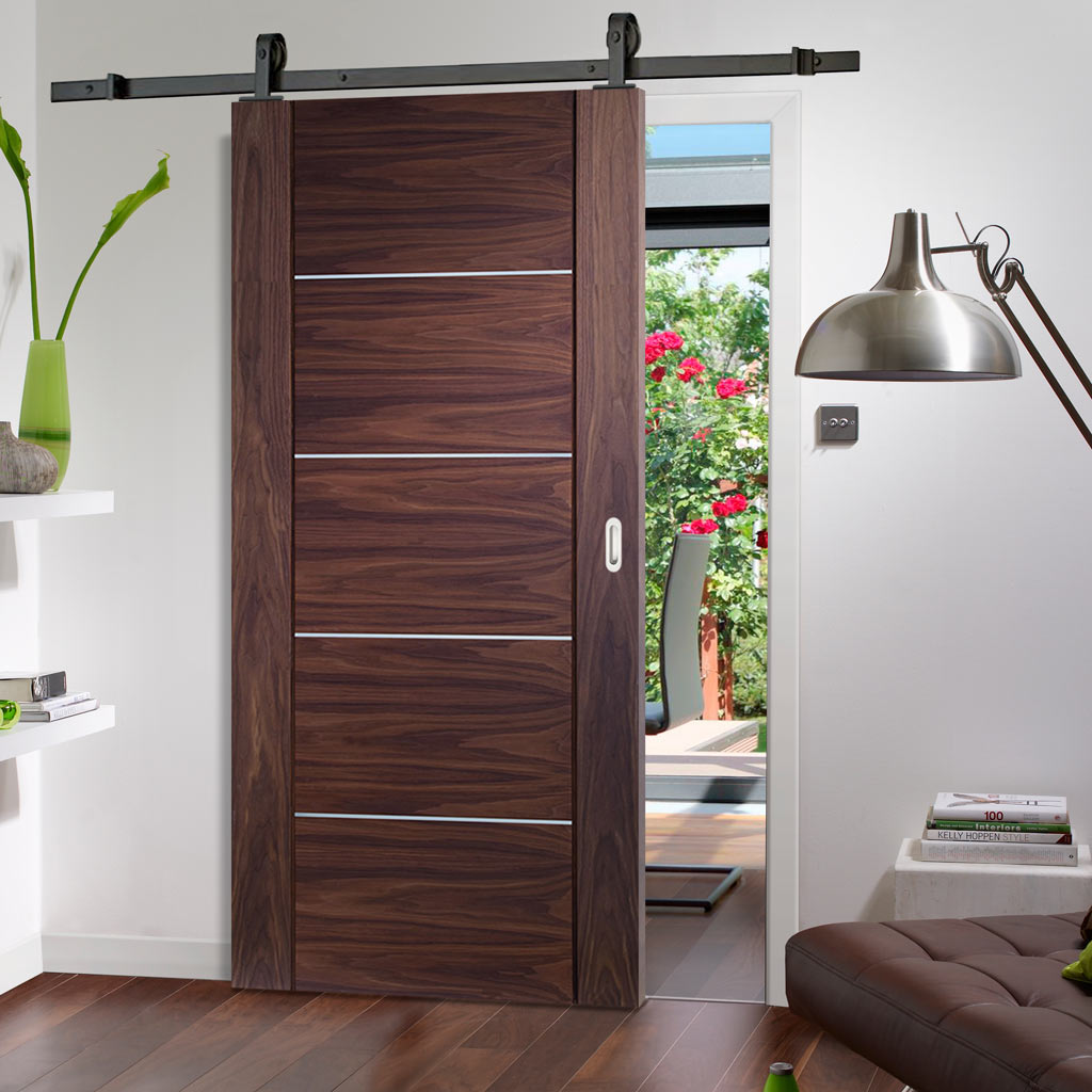 Top Mounted Sliding Track & Door - Portici Walnut Flush Door - Aluminium Inlay - Prefinished
