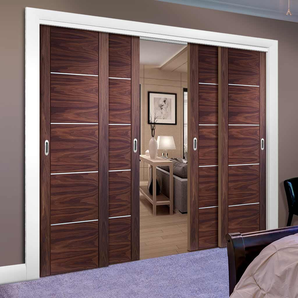 Four Sliding Doors and Frame Kit - Portici Walnut Flush Door - Aluminium Inlay - Prefinished