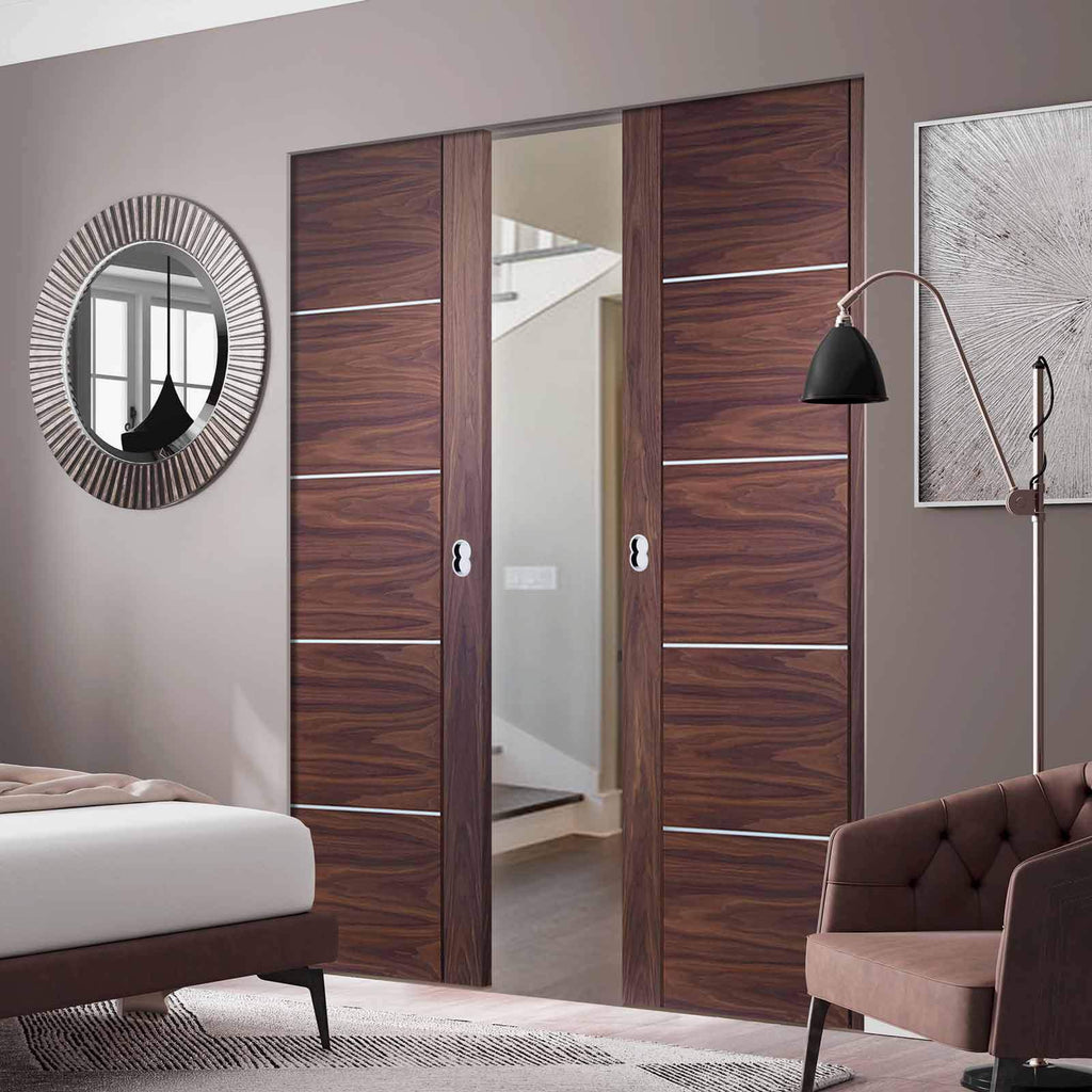 Bespoke Portici Walnut Flush Double Frameless Pocket Door - Aluminium Inlay - Prefinished