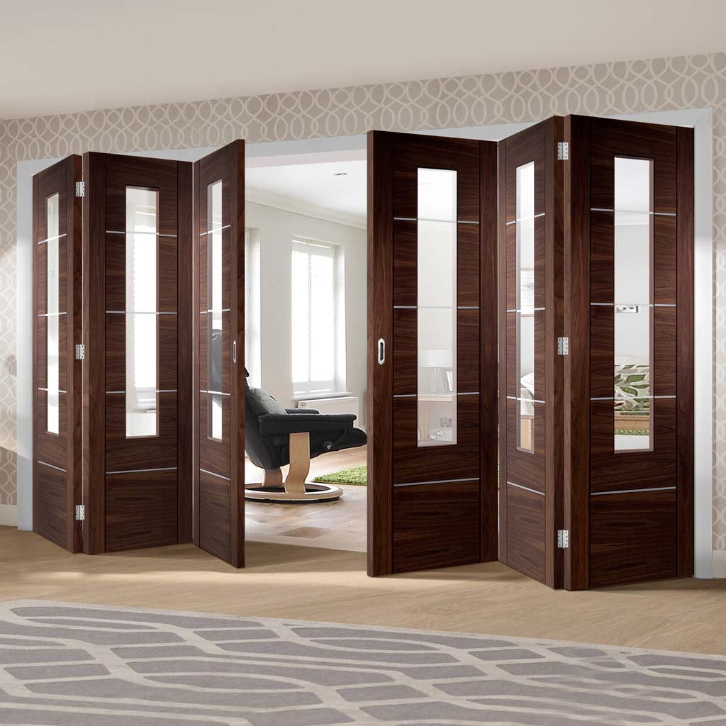 Bespoke Thrufold Portici Walnut Glazed Folding 3+3 Door - Aluminium Inlay - Prefinished
