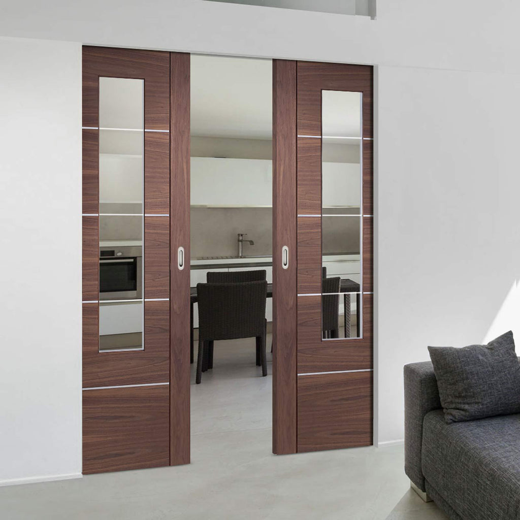 Bespoke Portici Walnut Glazed Double Frameless Pocket Door - Aluminium Inlay - Prefinished
