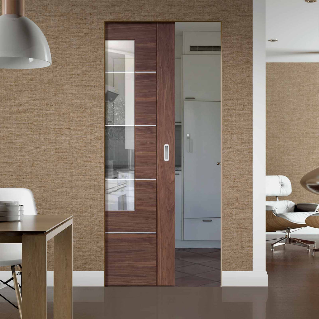 Portici Walnut Flush Absolute Evokit Pocket Door - Aluminium Inlay & Clear Glass - Prefinished
