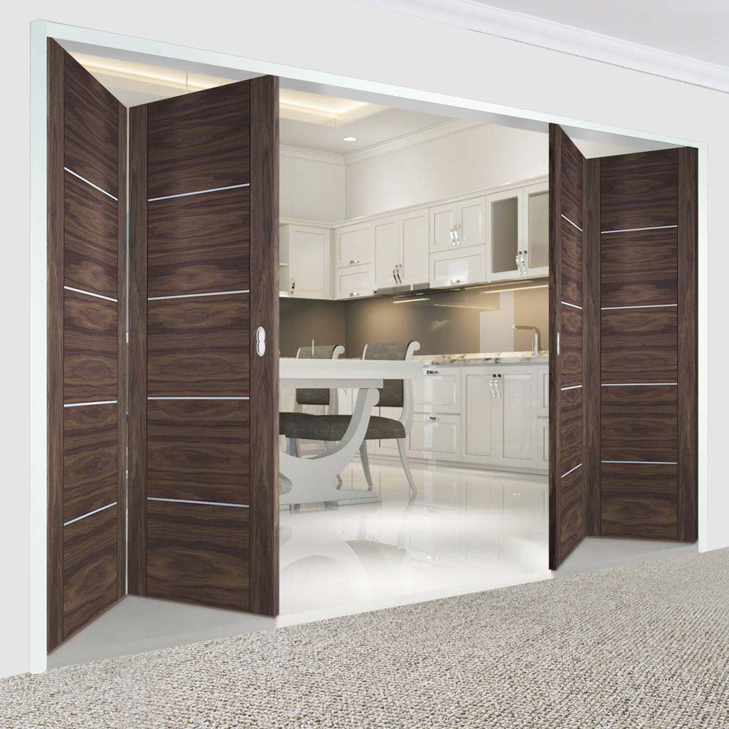 Bespoke Thrufold Portici Walnut Flush Folding 2+2 Door - Aluminium Inlay - Prefinished