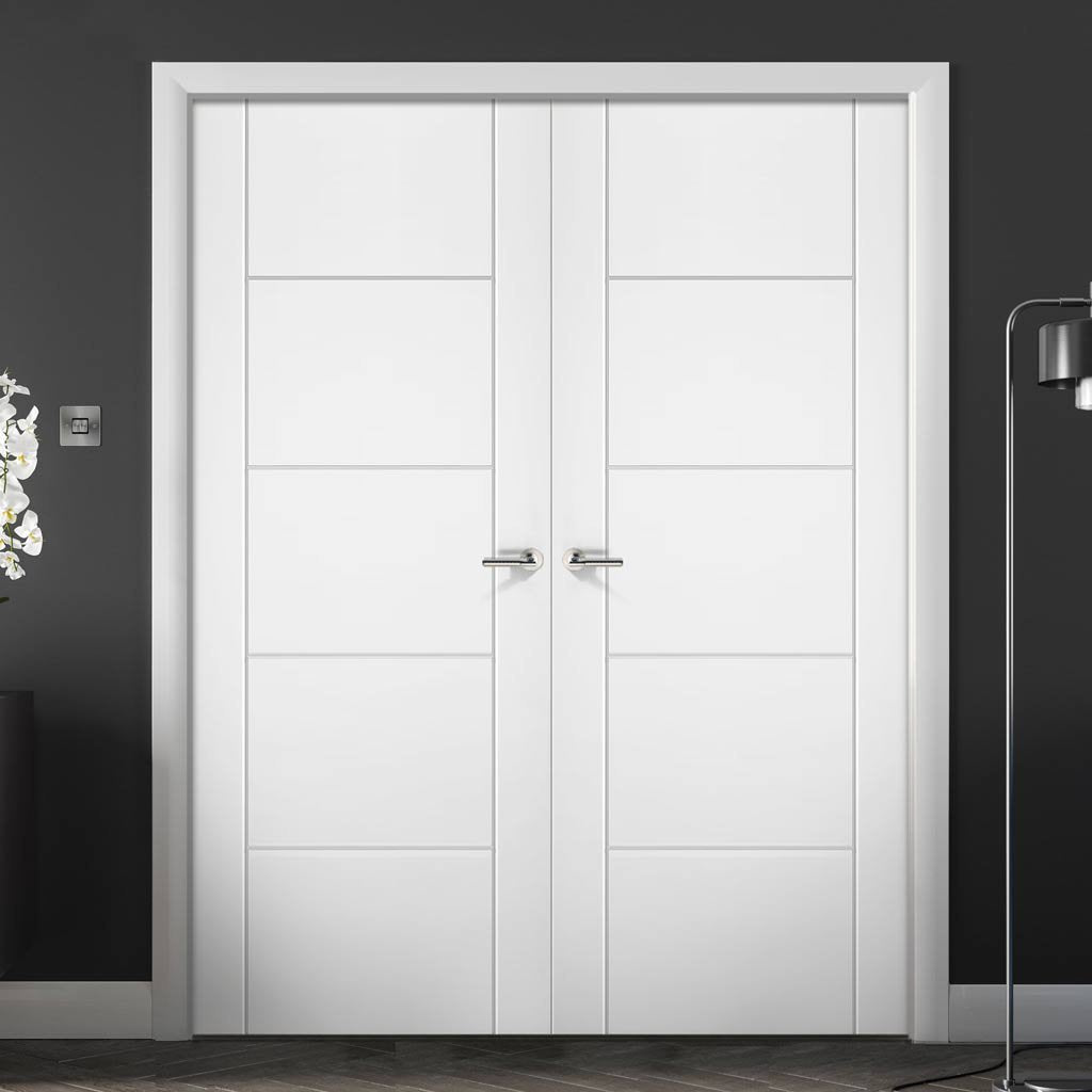 Portici White Flush Door Pair - Aluminium Inlay - Prefinished