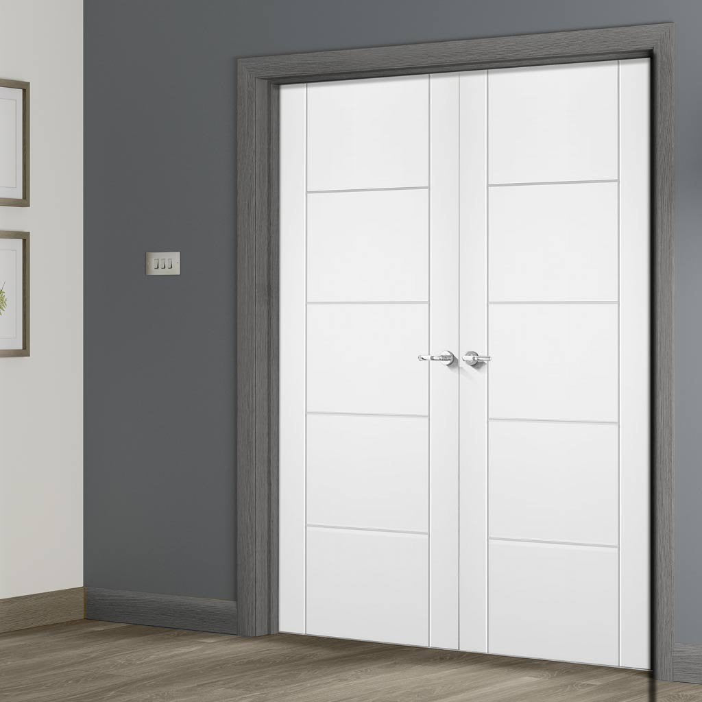 FD30 Fire Pair, Portici White Flush Door Pair - 30 Minute Rated - Aluminium Inlay - Prefinished